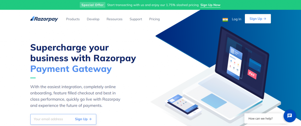 Razorpay site home page - Razorpay Payment Gateway