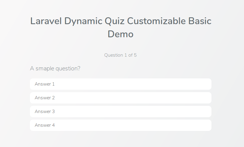 Laravel Dynamic Quiz Customizable Basic Demo