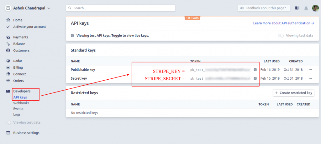 Stripe account - get stripe key and secret key