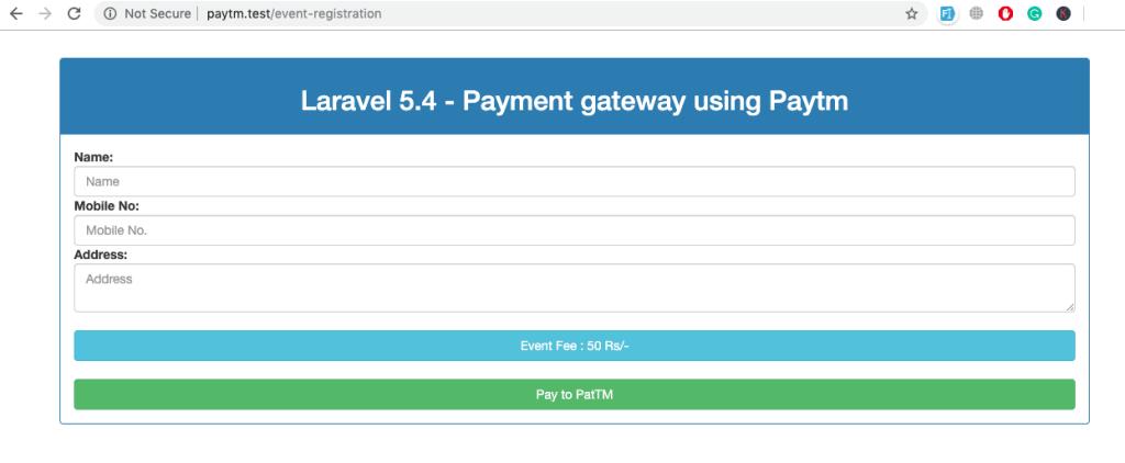Paytm register fee form