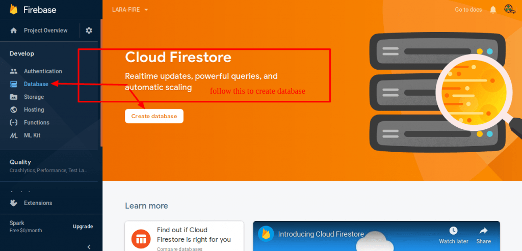 Make sure this is a cloud firestore database. where firestore and realtime both are a different things.