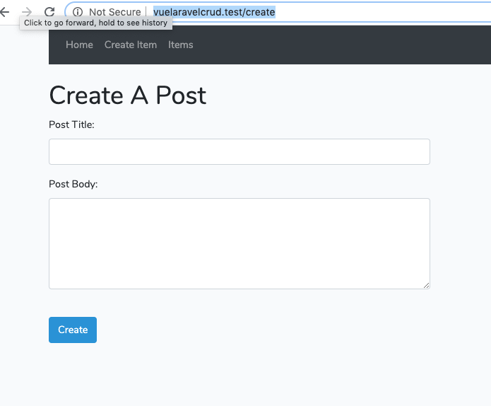 laravel and vue js CRUD tutorial - create item