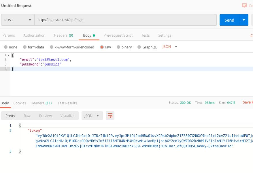 Laravel + VueJS - Build a login and register web app - Login API test