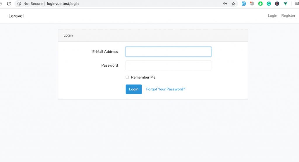 Laravel + VueJS - Build a login and register web app - Login Page