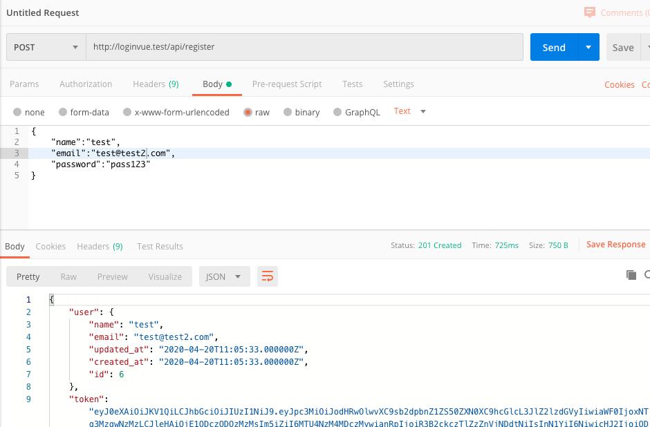 Laravel + VueJS - Build a login and register web app - Laravel + VueJS - Build a login and register web app - Register API test