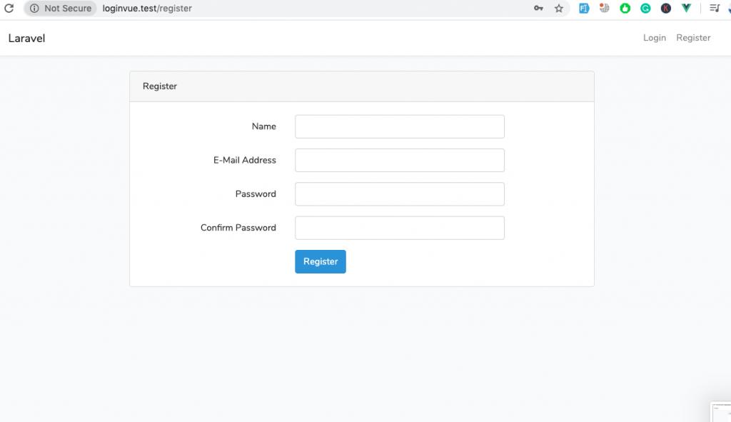 Laravel + VueJS - Build a login and register web app - Register page