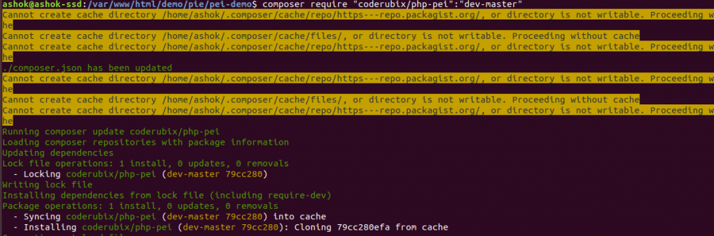 Output of composer after installing the package of Pei payment gateway