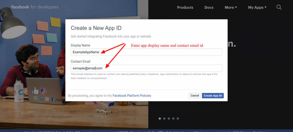 Create new app for facebook screen popup