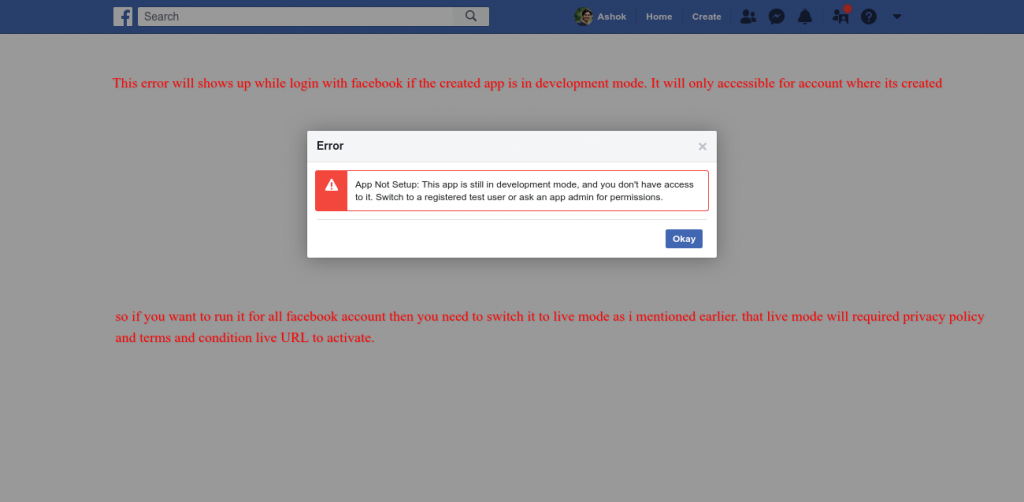 Error screen of the facebook app if the app is in development mode.