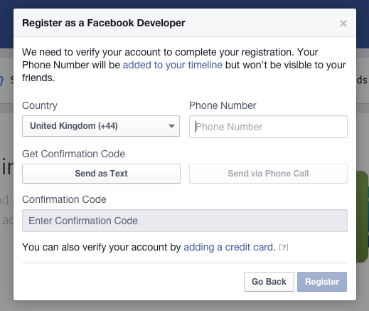 Phone verification for facebook login screen