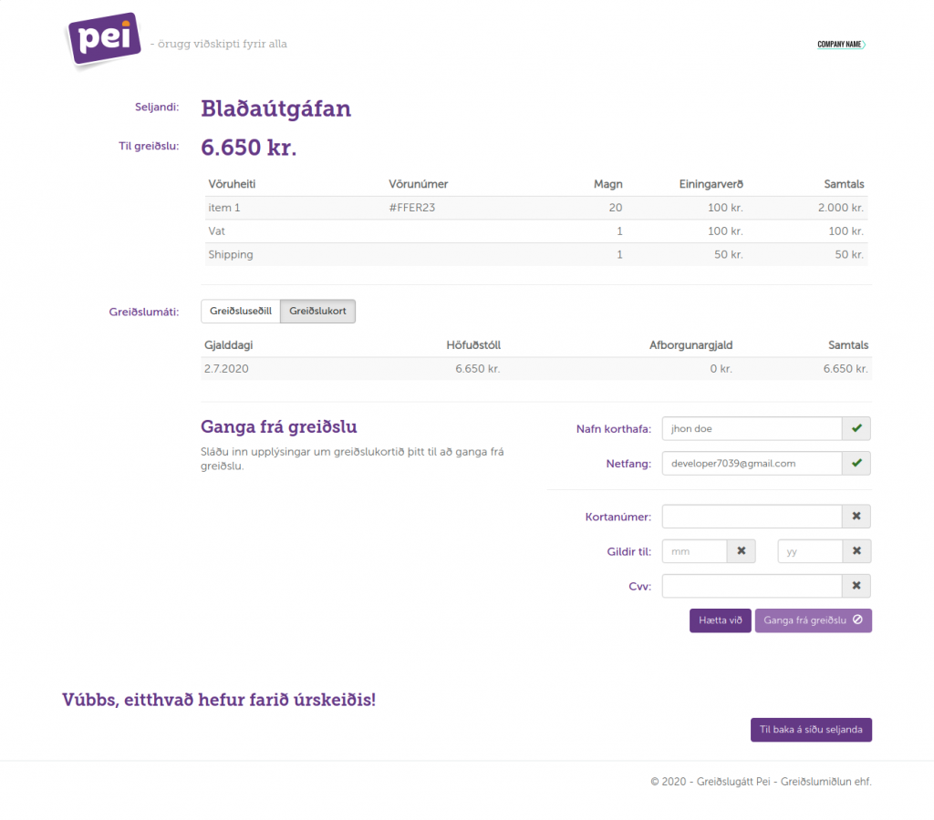 Example of credit card option of Pei payment gateway