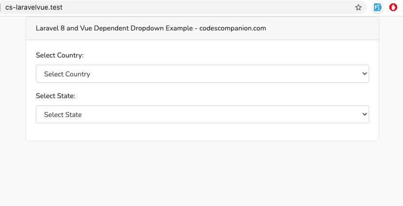 Laravel 8 and Vue Dependent Dropdown Example